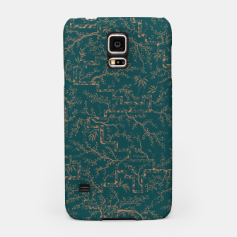 Thumbnail image of Antique copper sakura bloom on dark green silk Samsung Case, Live Heroes