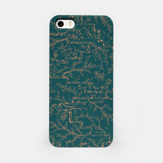Thumbnail image of Antique copper sakura bloom on dark green silk iPhone Case, Live Heroes