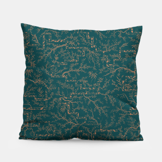 Thumbnail image of Antique copper sakura bloom on dark green silk Pillow, Live Heroes
