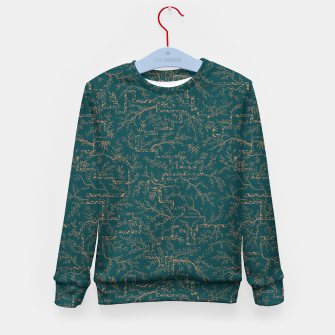 Thumbnail image of Antique copper sakura bloom on dark green silk Kid's sweater, Live Heroes