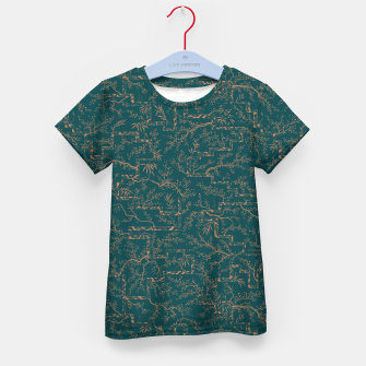 Thumbnail image of Antique copper sakura bloom on dark green silk Kid's t-shirt, Live Heroes