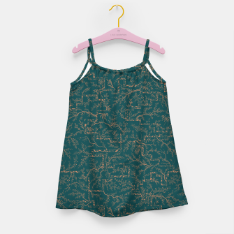 Thumbnail image of Antique copper sakura bloom on dark green silk Girl's dress, Live Heroes