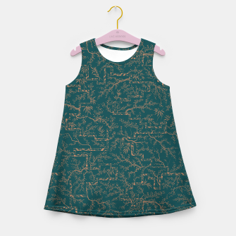Thumbnail image of Antique copper sakura bloom on dark green silk Girl's summer dress, Live Heroes