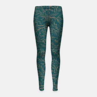 Thumbnail image of Antique copper sakura bloom on dark green silk Girl's leggings, Live Heroes