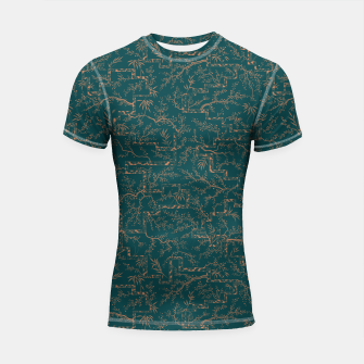 Thumbnail image of Antique copper sakura bloom on dark green silk Shortsleeve rashguard, Live Heroes