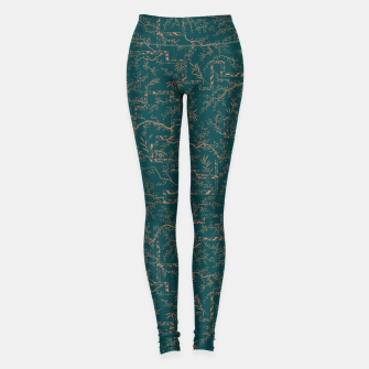 Thumbnail image of Antique copper sakura bloom on dark green silk Leggings, Live Heroes