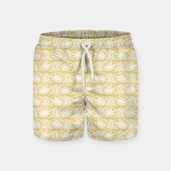 Turtles in the ocean, sandy color marine print Swim Shorts thumbnail image