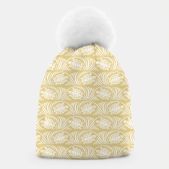 Turtles in the ocean, sandy color marine print Beanie thumbnail image