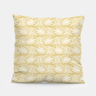 Turtles in the ocean, sandy color marine print Pillow thumbnail image