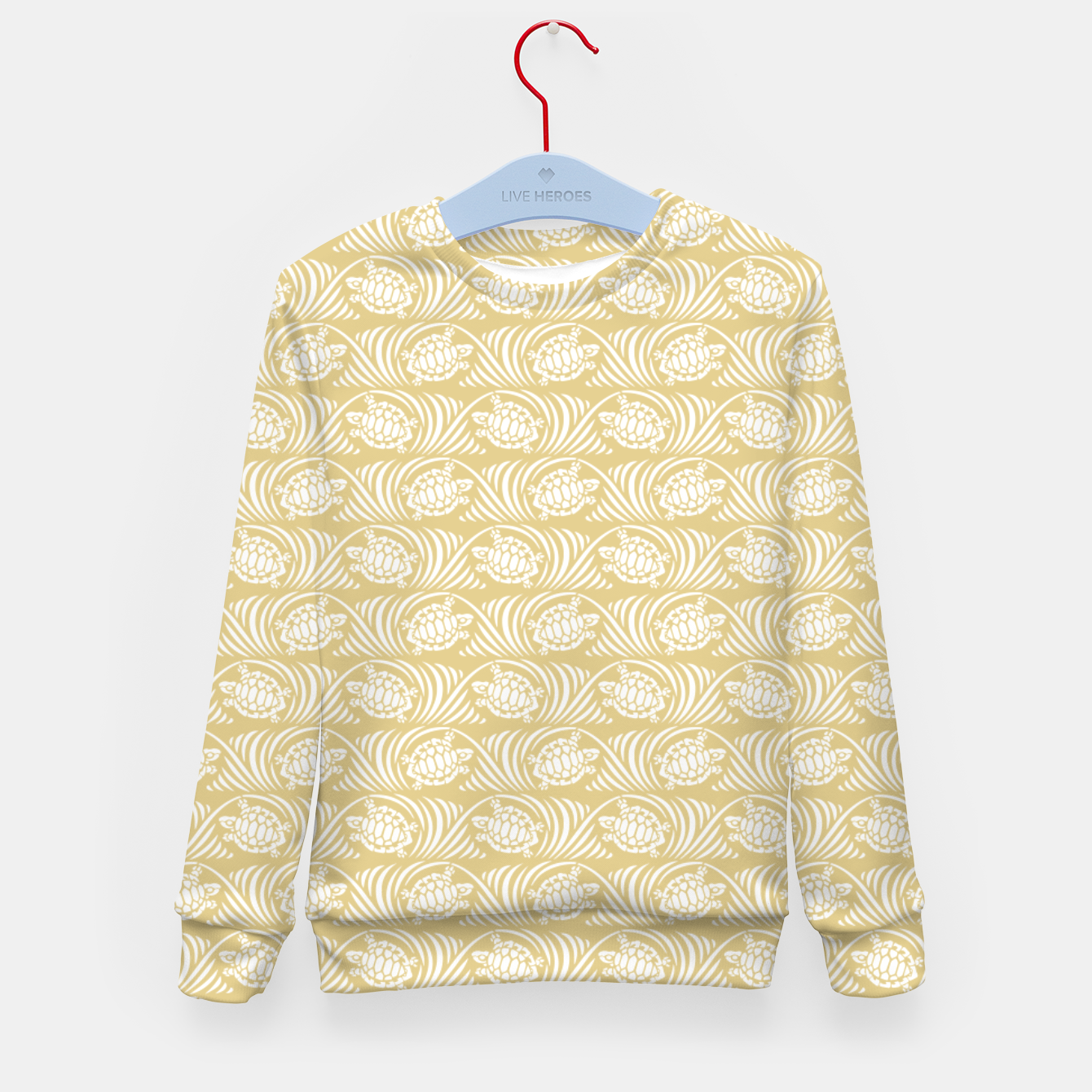 Image of Turtles in the ocean, sandy color marine print Kid's sweater - Live Heroes