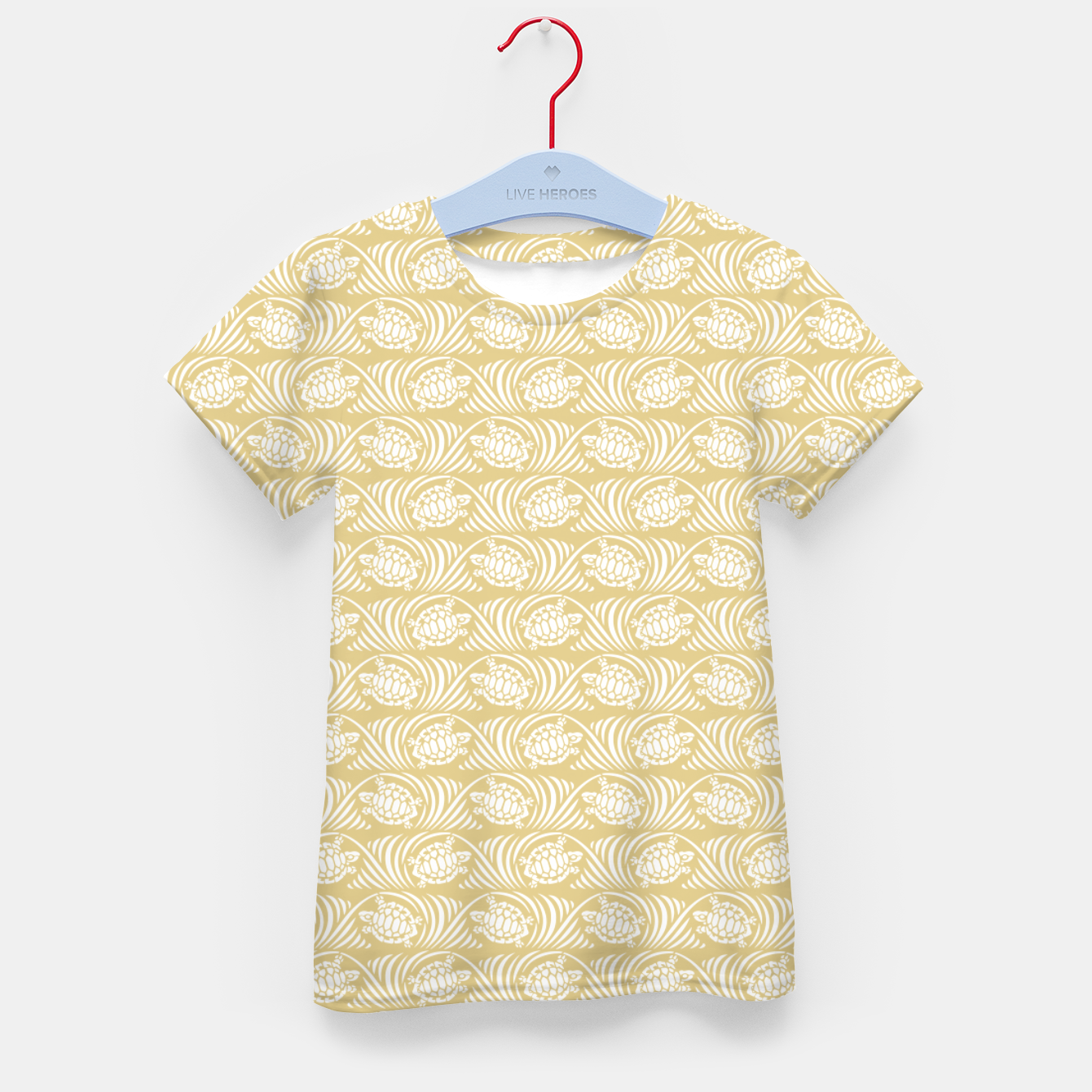 Image of Turtles in the ocean, sandy color marine print Kid's t-shirt - Live Heroes