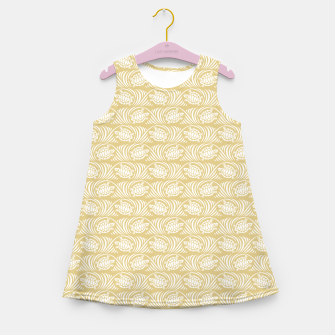Turtles in the ocean, sandy color marine print Girl's summer dress thumbnail image
