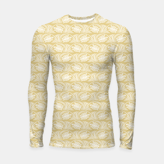 Thumbnail image of Turtles in the ocean, sandy color marine print Longsleeve rashguard , Live Heroes