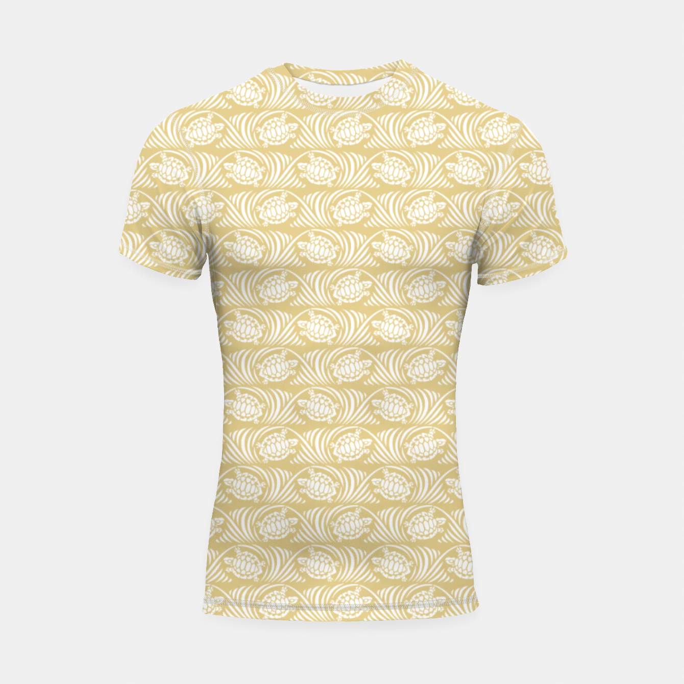 Image of Turtles in the ocean, sandy color marine print Shortsleeve rashguard - Live Heroes