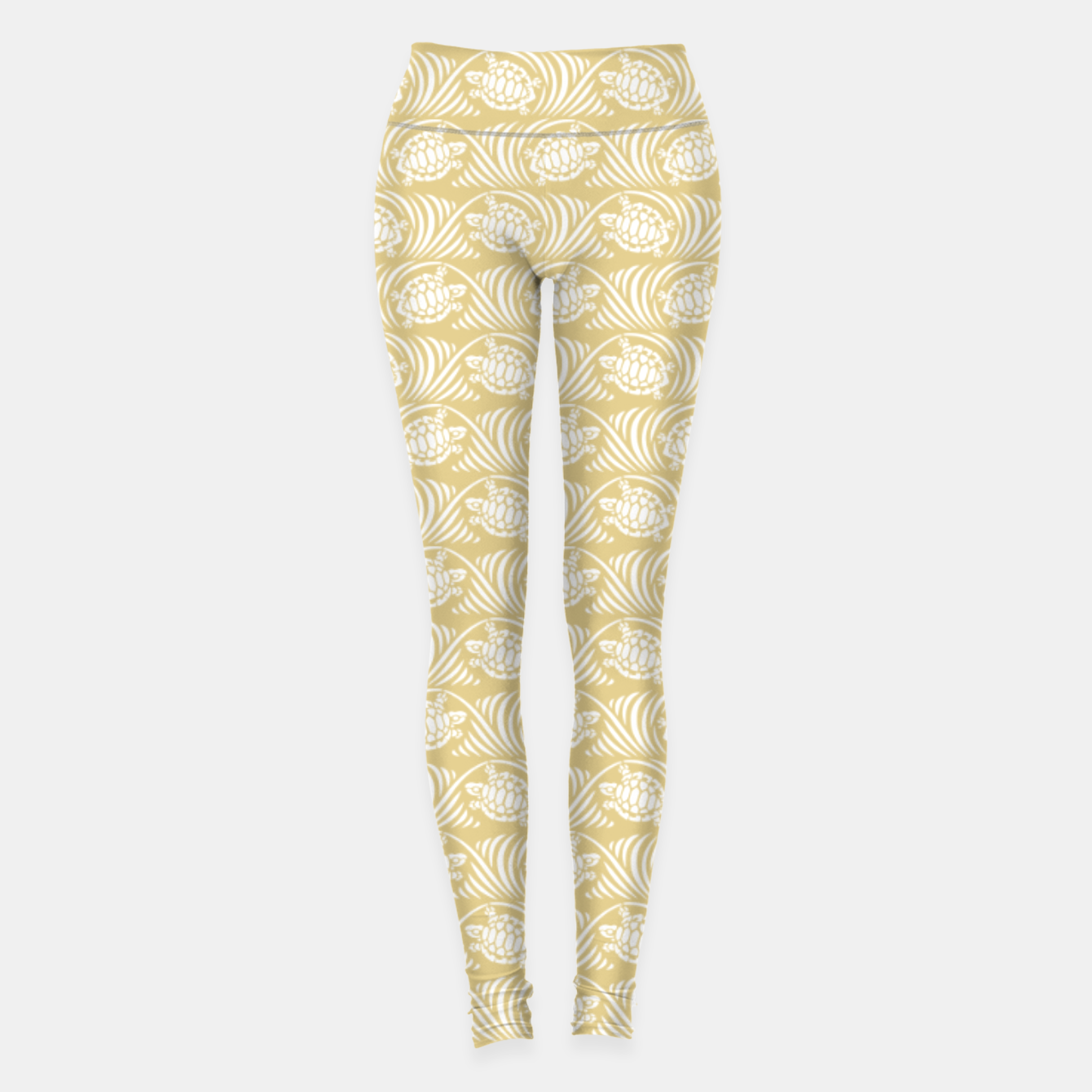 Image of Turtles in the ocean, sandy color marine print Leggings - Live Heroes
