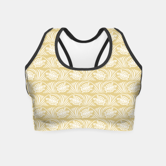 Turtles in the ocean, sandy color marine print Crop Top thumbnail image
