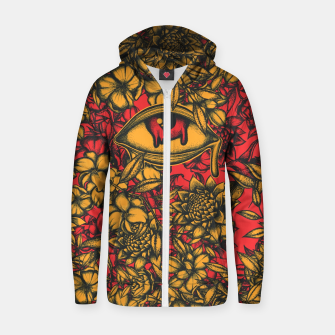 Thumbnail image of Floral Eye Zip up hoodie, Live Heroes