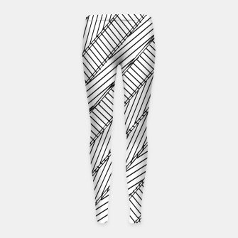 Thumbnail image of geometric line pattern abstract background in black and white Girl's leggings, Live Heroes