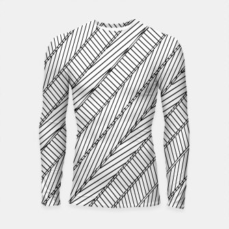 Thumbnail image of geometric line pattern abstract background in black and white Longsleeve rashguard , Live Heroes
