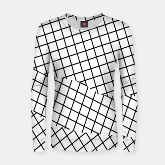 Thumbnail image of geometric square shape pattern abstract background in black and white Women sweater, Live Heroes