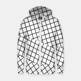 Thumbnail image of geometric square shape pattern abstract background in black and white Zip up hoodie, Live Heroes