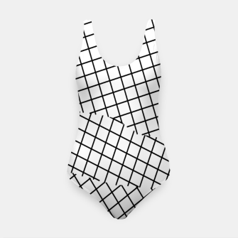Thumbnail image of geometric square shape pattern abstract background in black and white Swimsuit, Live Heroes