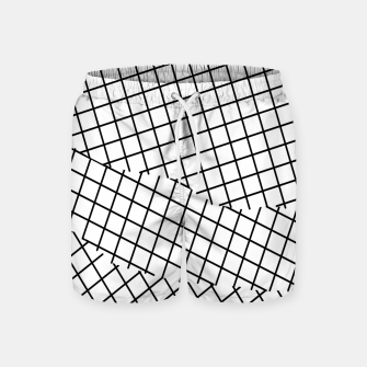 Thumbnail image of geometric square shape pattern abstract background in black and white Swim Shorts, Live Heroes