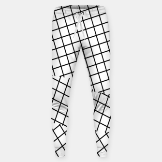 Thumbnail image of geometric square shape pattern abstract background in black and white Sweatpants, Live Heroes
