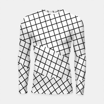 Thumbnail image of geometric square shape pattern abstract background in black and white Longsleeve rashguard , Live Heroes