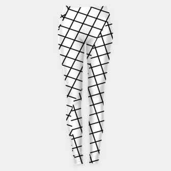 Thumbnail image of geometric square shape pattern abstract background in black and white Leggings, Live Heroes