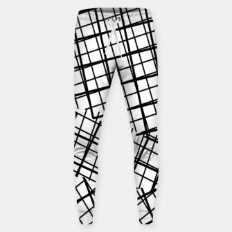 Thumbnail image of geometric square line pattern abstract background in black and white Sweatpants, Live Heroes