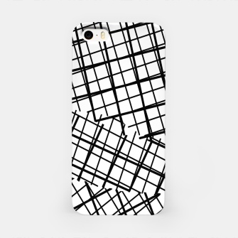 Thumbnail image of geometric square line pattern abstract background in black and white iPhone Case, Live Heroes