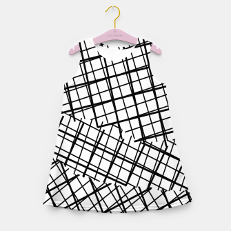 Thumbnail image of geometric square line pattern abstract background in black and white Girl's summer dress, Live Heroes