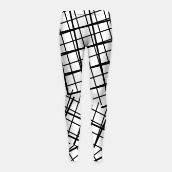 Thumbnail image of geometric square line pattern abstract background in black and white Girl's leggings, Live Heroes