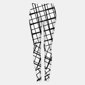 Thumbnail image of geometric square line pattern abstract background in black and white Leggings, Live Heroes