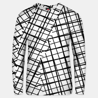 Thumbnail image of geometric square line pattern abstract background in black and white Unisex sweater, Live Heroes