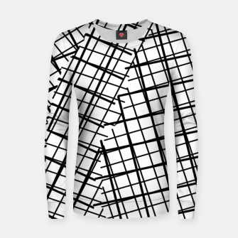 Thumbnail image of geometric square line pattern abstract background in black and white Women sweater, Live Heroes