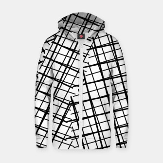 Thumbnail image of geometric square line pattern abstract background in black and white Zip up hoodie, Live Heroes