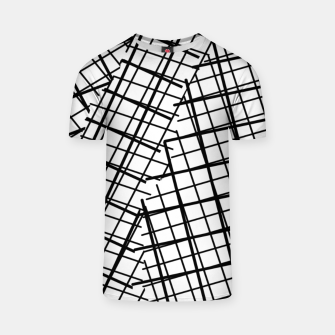 Thumbnail image of geometric square line pattern abstract background in black and white T-shirt, Live Heroes