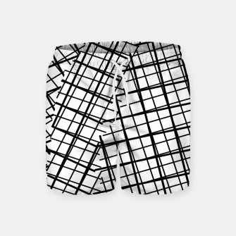 Thumbnail image of geometric square line pattern abstract background in black and white Swim Shorts, Live Heroes