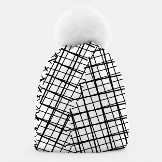 Thumbnail image of geometric square line pattern abstract background in black and white Beanie, Live Heroes
