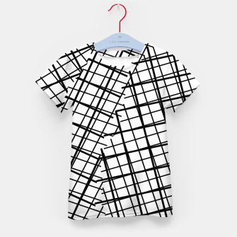 Thumbnail image of geometric square line pattern abstract background in black and white Kid's t-shirt, Live Heroes