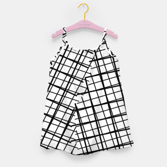 Thumbnail image of geometric square line pattern abstract background in black and white Girl's dress, Live Heroes