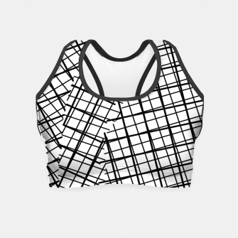 Thumbnail image of geometric square line pattern abstract background in black and white Crop Top, Live Heroes