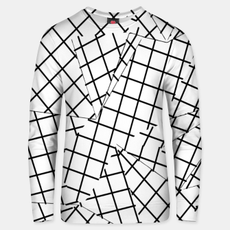 Thumbnail image of geometric square shape line pattern abstract background in black and white Unisex sweater, Live Heroes