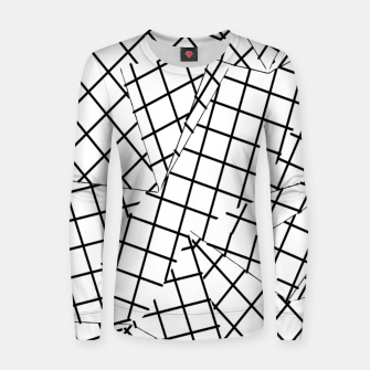 Thumbnail image of geometric square shape line pattern abstract background in black and white Women sweater, Live Heroes