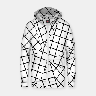 Thumbnail image of geometric square shape line pattern abstract background in black and white Zip up hoodie, Live Heroes