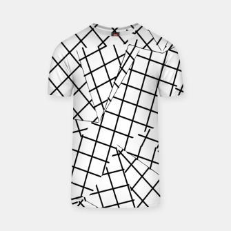 Thumbnail image of geometric square shape line pattern abstract background in black and white T-shirt, Live Heroes