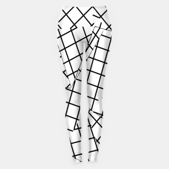 Thumbnail image of geometric square shape line pattern abstract background in black and white Leggings, Live Heroes