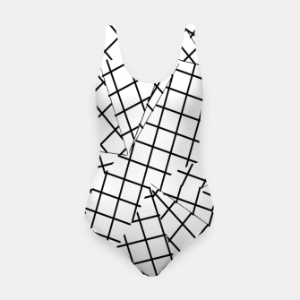 Thumbnail image of geometric square shape line pattern abstract background in black and white Swimsuit, Live Heroes